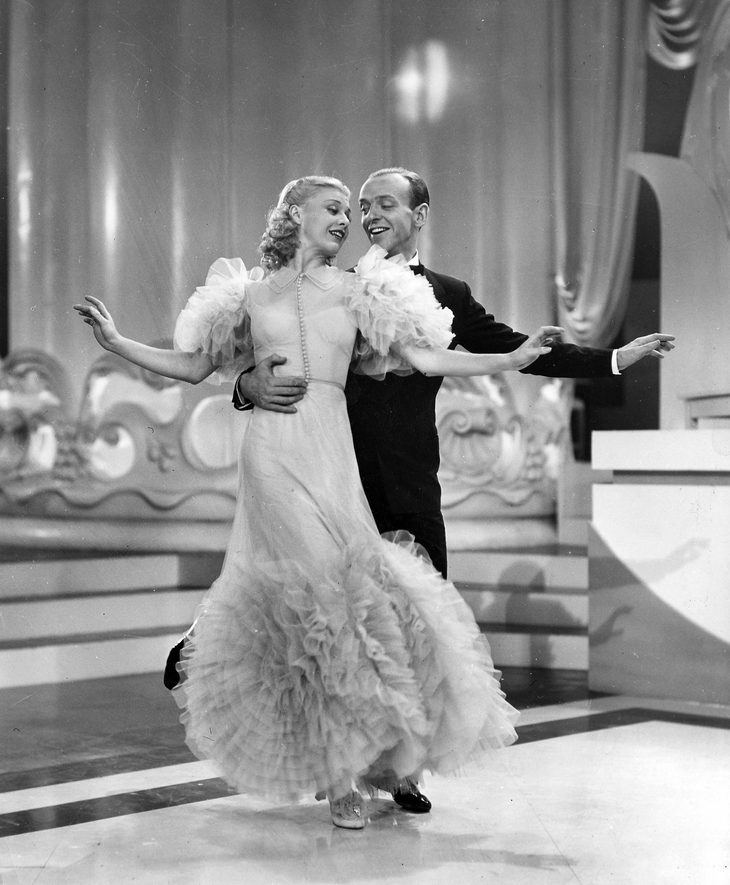 Swing TimeÓ (1936), one of the silver screenÕs most amusing and romantic musicals, will be presented as part of the Academy of Motion Picture Arts and SciencesÕ George Stevens Lecture on Directing series at on Tuesday, October 26, at 7:30 p.m. at the Samuel Goldwyn Theater.  Pictured: Ginger Rogers and Fred Astaire in a scene from SWING TIME, 1936.